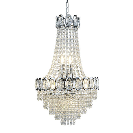 Revive Chrome 6 Light Chandelier with Crystal Beads