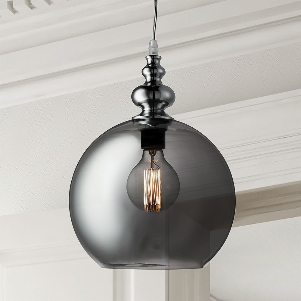 Revive Globe Pendant Light - Smoked Glass