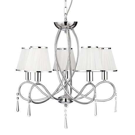 Revive 5-Light Chrome Light Fitting with White Shades