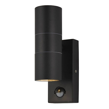 Revive Outdoor Black Up & Down Wall Light with PIR Sensor