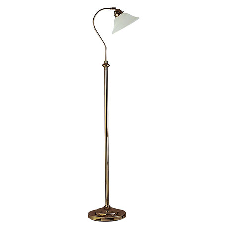 Revive Antique Brass Floor Lamp with Adjustable Marble Glass Shade