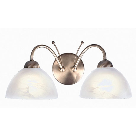 Revive Antique Brass 2-Light Wall Light with Alabaster Glass Shades