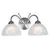 Revive Chrome 2-Light Wall Light with Alabaster Glass Shades profile small image view 1