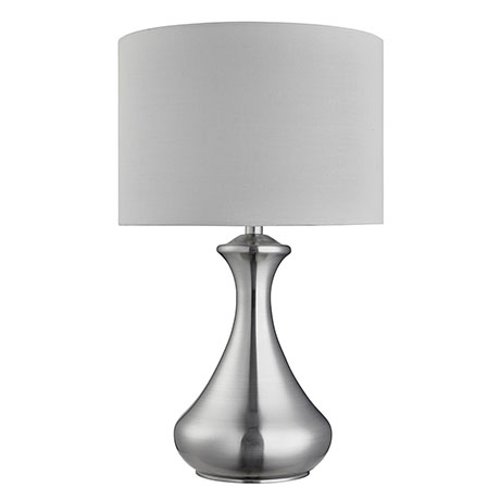 Revive Satin Silver Touch Table Lamp with White Shade