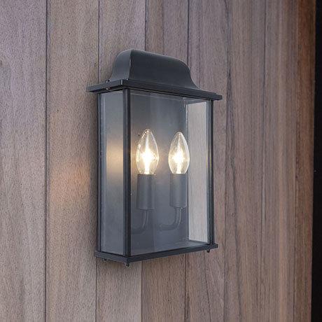 Revive Outdoor Slim Black Wall Lantern