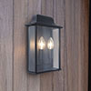 Revive Outdoor Slim Black Wall Lantern profile small image view 1