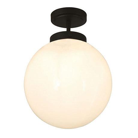 Revive Matt Black 1 Light Semi-Flush Bathroom Ceiling Light