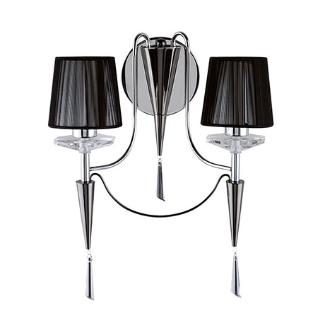 Revive Chrome 2-Light Wall Light with Black Shades