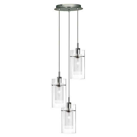 Revive Chrome 3-Light Pendant with Glass Tube Shades