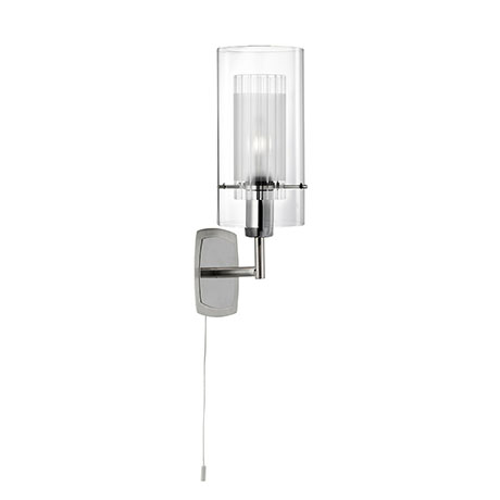 Revive Chrome Single Wall Light with Glass Tube Shade