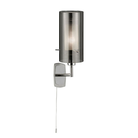 Revive Single Wall Light with Smoked Glass Tube Shade
