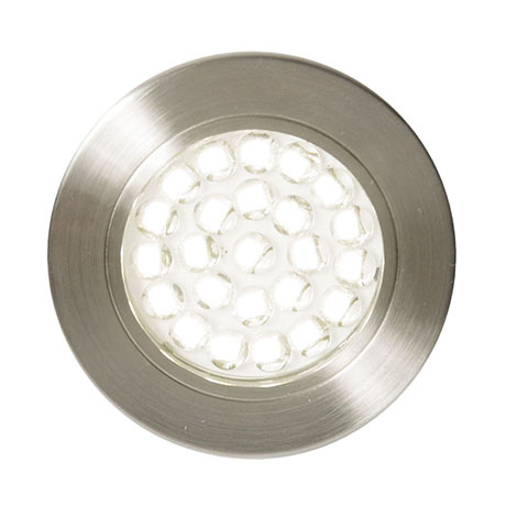 Revive Round LED Recessed Under Cabinet Light Satin Nickel