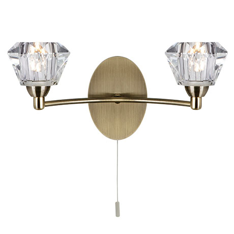 Revive Antique Brass 2-Light Wall Light with Glass Shades