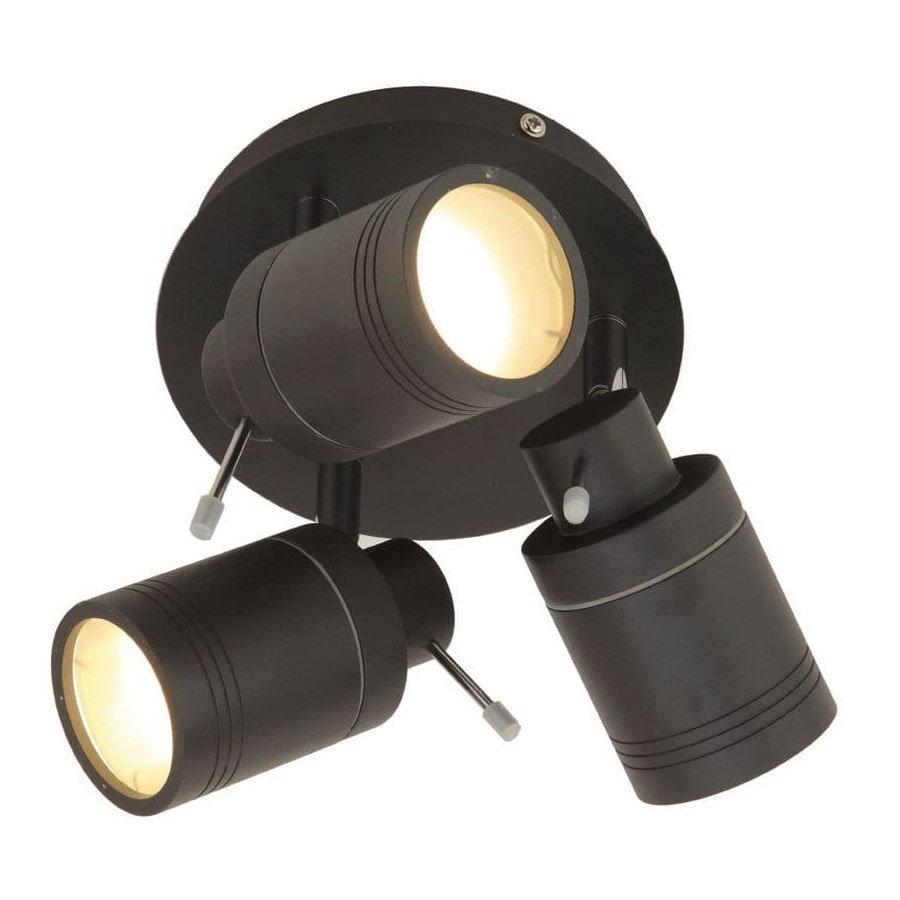 Revive Matt Black 3 Spot Bathroom Ceiling Light
