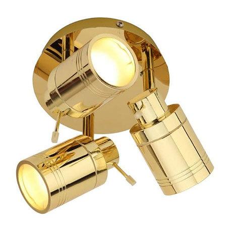 Revive Brass 3 Spot Bathroom Ceiling Light