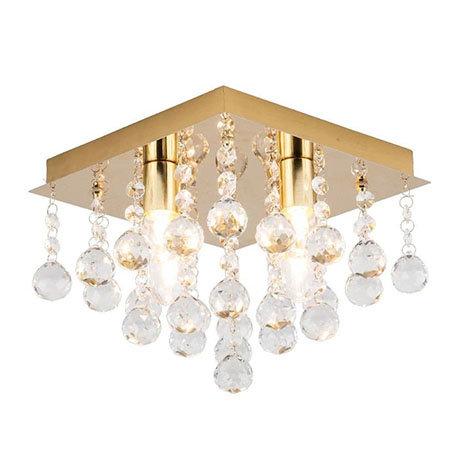 Revive Brass 4 Light Square Flush Bathroom Ceiling Light
