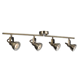 Revive Antique Brass Spotlight Bar - 4 Light Split