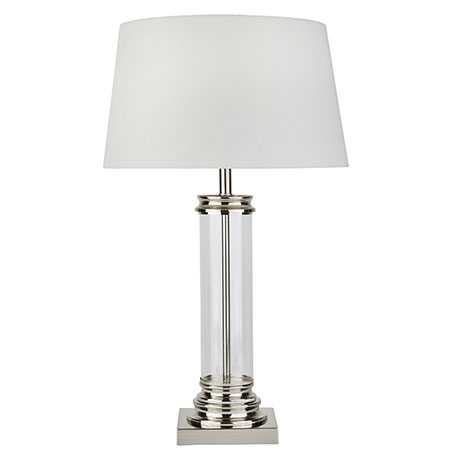 Revive Satin Silver & Glass Pedestal Table Lamp with Cream Shade