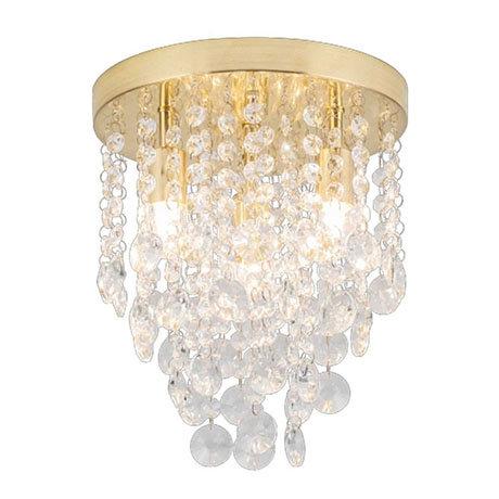Revive Brass 4 Light Round Flush Bathroom Ceiling Light