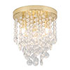 Revive Brass 4 Light Round Flush Bathroom Ceiling Light profile small image view 1