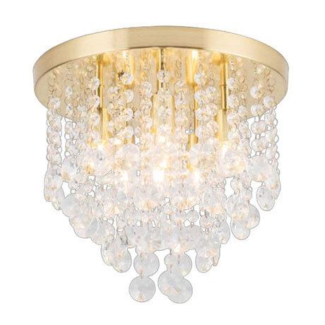 Revive Brass 6 Light Round Flush Bathroom Ceiling Light