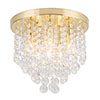 Revive Brass 6 Light Round Flush Bathroom Ceiling Light profile small image view 1