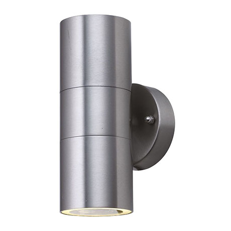 Revive Outdoor Stainless Steel Tube Up & Down Wall Light with Clear Glass