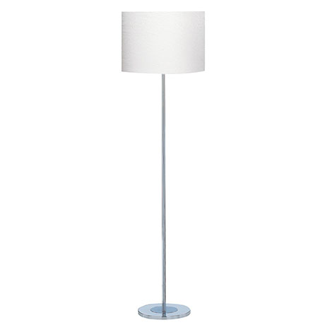 Revive Chrome Round Base Floor Lamp with White Drum Shade