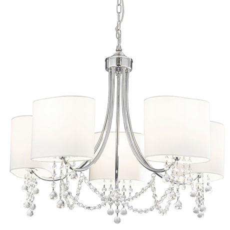 Revive Chrome 5 Light Fitting with White Shades and Crystal Beads