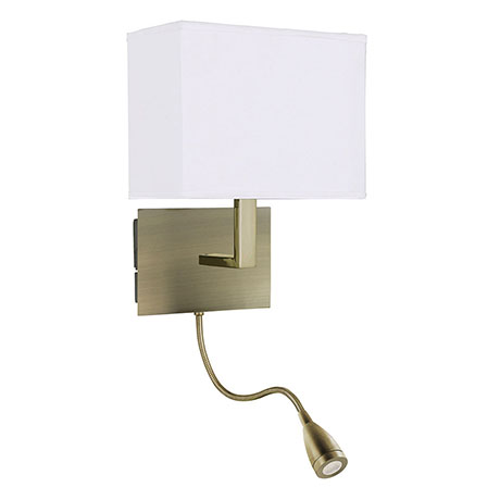 Revive LED Antique Brass Wall Lamp with Flexi Reading Light