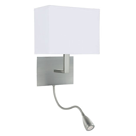 Revive LED Satin Silver Wall Lamp with Flexi Reading Light