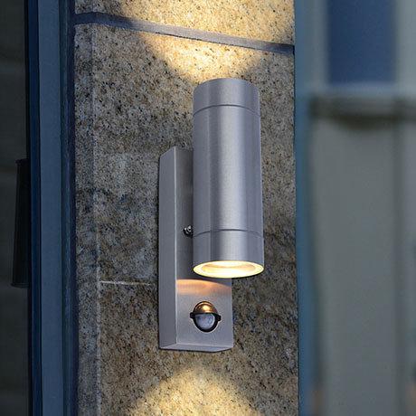 Revive Outdoor PIR Modern Stainless Steel Up & Down Wall Light