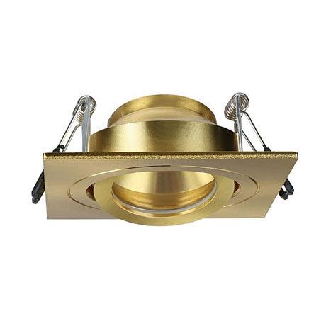 Revive IP65 Satin Brass Square Tiltable Bathroom Downlight