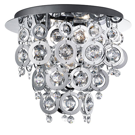 Revive Chrome Rings Semi-Flush Chandelier Ceiling Light
