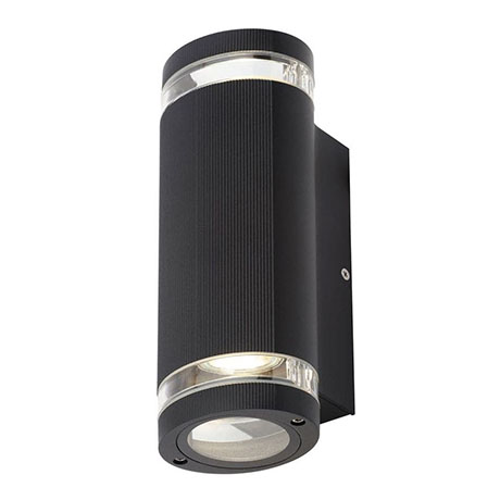 Revive Outdoor Black Ridged Up & Down Wall Light