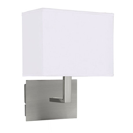 Revive LED Satin Silver Wall Light with White Shade