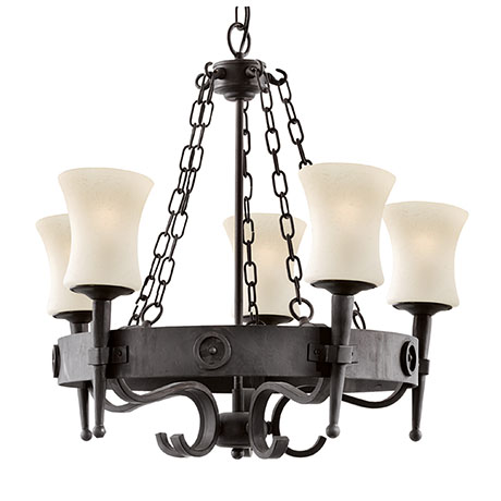 Revive Medieval 5-Light Black Light Fitting with Frosted Glass Shades