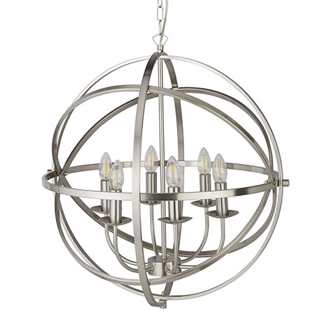 Revive Satin Silver 6 Light Round Cage Pendant Light