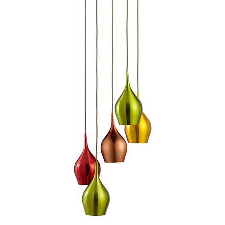 Revive 5 Light Multi-Coloured Bell Pendant Lights