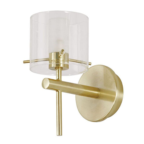 Revive Satin Brass Bathroom Wall Light with Glass Cylinder Shade