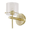 Revive Satin Brass Bathroom Wall Light with Glass Cylinder Shade profile small image view 1