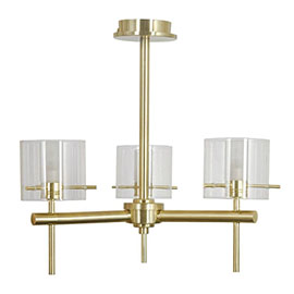 Revive Satin Brass 3-Light Bathroom Ceiling Light with Glass Cylinder Shades