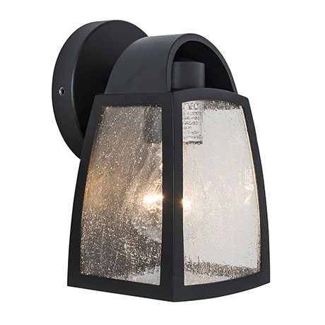 Revive Outdoor Small Matt Black Wall Light with Seeded Glass Diffuser