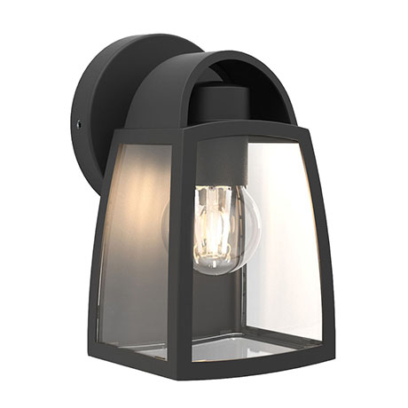 Revive Outdoor Small Matt Black Wall Light with Clear Glass Diffuser