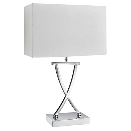 Revive Chrome Frame Table Lamp with White Rectangular Shade