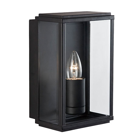 Revive Outdoor Black Rectangular Box Wall Light