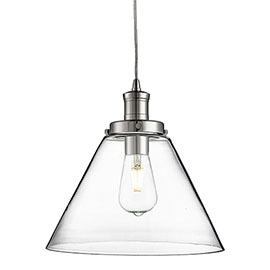 Revive Clear Glass Cone Pendant Light - Modern Chrome