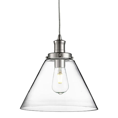 Revive Clear Glass Cone Shade Chrome Ceiling Pendant