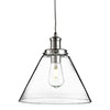 Revive Clear Glass Cone Pendant Light - Modern Chrome profile small image view 1