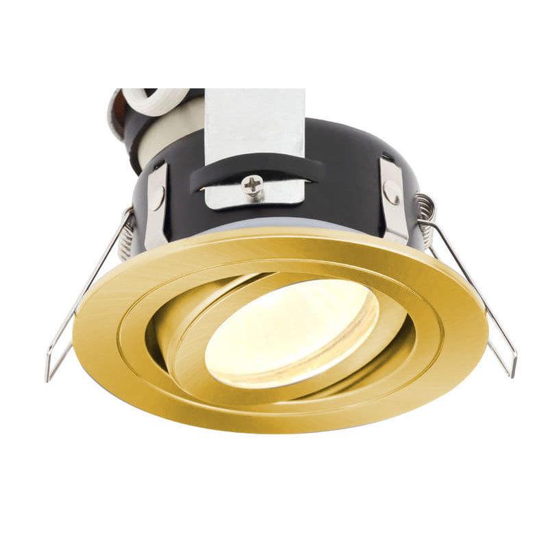 Revive IP65 Satin Brass Round Tiltable Bathroom Downlight